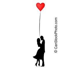romantique, february., vecteur, silhouette, aimer, fond, valentines, 14, isolé, blanc, jour, ou, heureux, couple., style., plat, lovers.