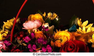 romantique, fleurs colorées