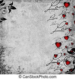 romantique, fond, cœurs, set), amour, rouges, (1, texte, vendange