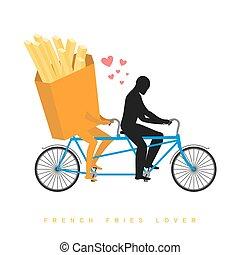 romantique, francais, undershot, date., bicycle., jointure, amants, tandem., cycling., homme promenade, rouleaux, fastfood, repas., amant, nourriture, illustration, fries.