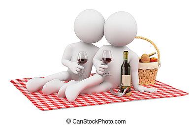 romantique, gens., valentines, picnic., blanc, couple, jour, 3d