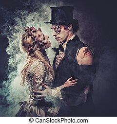 romantique, habillé, couple, zombi, mariage, vêtements