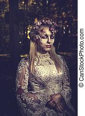 romantique, habillé, zombi, mariage, woman., vêtements