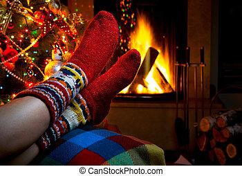 romantique, hiver, soir, cheminée, noël