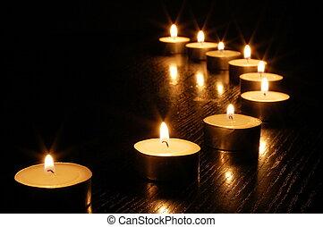 romantique, lumière bougie