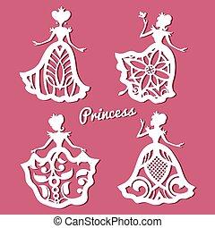 romantique, modèle, découpé, mariage, dentelle, princesse, robes