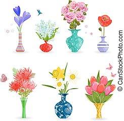 romantique, moderne, collection, conception, vases, fleurs, ton