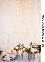 romantique, monture, chambre à coucher, bouquets, intérieur, fleurs, décor