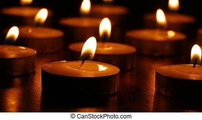 romantique, nature morte, bougies, brulure, parfumé