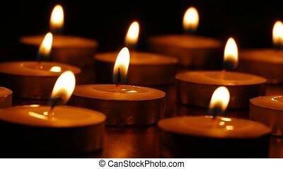 romantique, nature morte, bougies, brulure, soir, parfumé