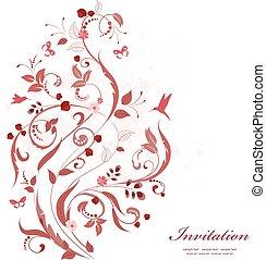 romantique, ornement, valentin, day., floral, design., ton, heureux