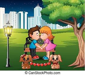 romantique, parc, couple, arbre, sous, baisers, dessin animé