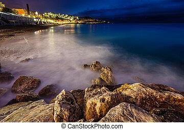romantique, plage, d'azure, france française, cote, riviera...