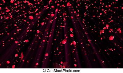romantique, render, rose, résumé, voler, pétales, engendré, informatique, fond, mariage, style, rouges, 3d
