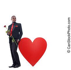 romantique, rose, girlfriend., tenue, mâle, présent