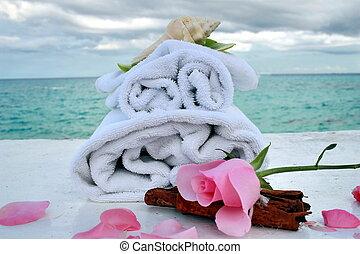 romantique, spa, à, océan