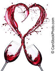 romantique, toast, de, vin, rouges