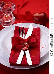 romantique, valentine, monture, endroit, dîner., jour