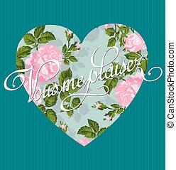 romantique, vendange, love., salutation, arrière-plan., invitation., vecteur, gabarit, rose, ou, carte
