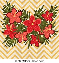 romantique, vendange, salutation, illustration, vecteur, floral, hibiscus, carte