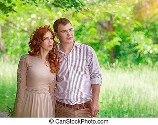 romantisch paar, in het park