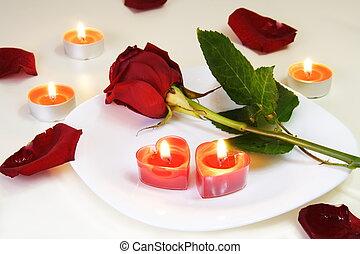 romantische, aantrekkelijk, tafel, met, roos, en, kaarsjes