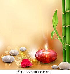 romantische, achtergrond, met, bamboe, en, lit kaarzen