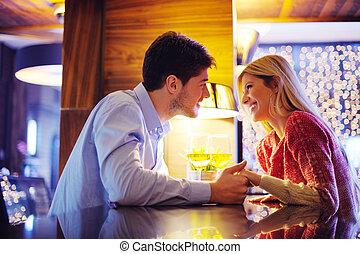romantische, avond, datum