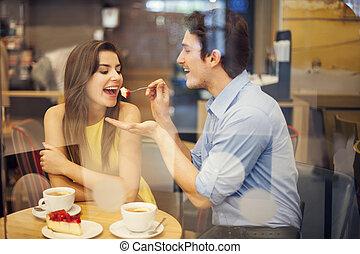 romantische, datering, in, een, koffiehuis