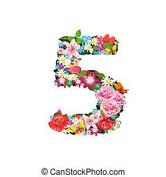 romantische, getal, van, mooi, bloemen, 5