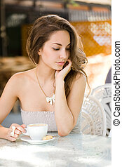 romantische , girl., bohnenkaffee