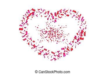 romantische, hart, liefde, confetti, trouwfeest, heart-shape., valentijn, dag, vakantie, confetti, versiering, groet, vector, design., herfst, rood wit, valentines, frame., illustratie, grens, card., vrijstaand, achtergrond.