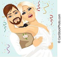 romantische, hun, bruidegom, hebben, bruid, moment, trouwfeest, blonde, dag