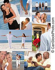 romantische, interracial, stellen, liefde, romaans, montage