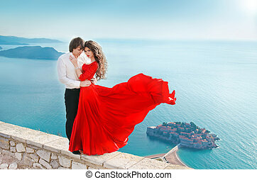 romantische, jong paar, verliefd, op, zee oever, achtergrond., mode