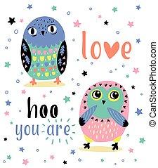 romantische , karte, mit, zwei, reizend, owls., liebe, hoo, sie, ar
