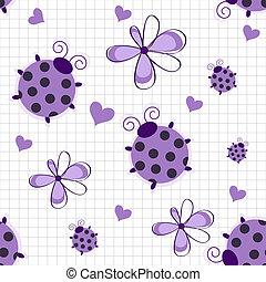 romantische, ladybugs, model, seamless, achtergrond, hartjes, witte bloemen