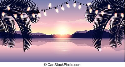 romantische, licht, ondergaande zon , paradijs, elfje, strand