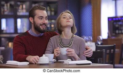 romantische, ontmoeting, in, een, restaurant
