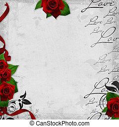 romantische, ouderwetse , achtergrond, met, rode rozen, en,...