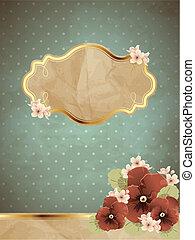 romantische, ouderwetse , spandoek, w/, bloemen