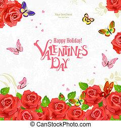 romantische, rozen, ontwerp, uitnodiging, jouw, kaart
