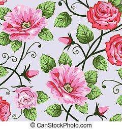romantische, rozen, seamless, model