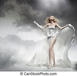 romantische , schoenheit, erstaunlich, posierend, blond,...