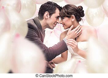 romantische, trouwfeest, afbeelding