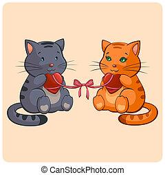 romantische, twee, poezen, verliefd, -, gekke , illustratie,...