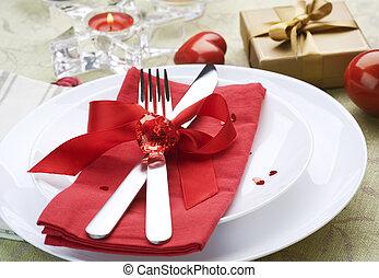 romantische , valentines, einstellung, ort, abendessen., tag