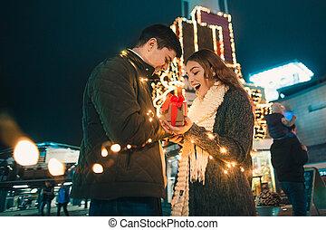 Verrassing Romantische Vrouw Romantische Haar Jonge
