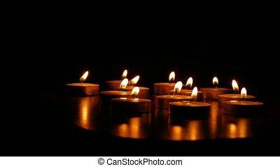 romantische, vuur, kaarsjes, branden, scented, kaarsje,...