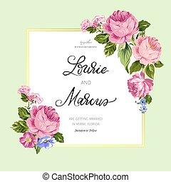 romantisk, bröllop, blommig, invitation., card.